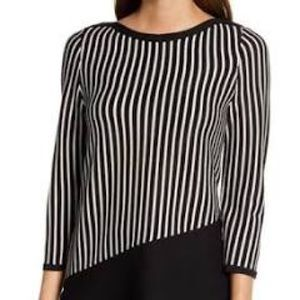 NWT Anne Klein Vetrical Stripe Asymmetric Tunic